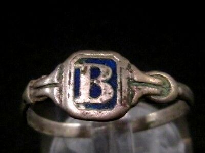 CHOICE WEDDING ANTIQUE SILVER RING  FROM 19th.–20th. CENTURY, *B* Letter !!!
