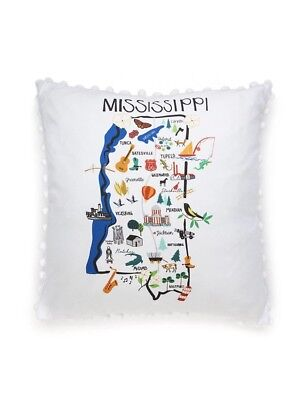 Mississippi Throw Pillow State Outline With Towns And Landmarks Crown & Ivy NWT