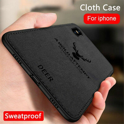 Cover Soft TPU Canvas Embossed Cloth Phone Case For iPhone XS Max XR 8 Plus 7 6