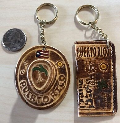 Lot of 2 Puerto Rico Travel Souvenirs Hat Keychains Key Rings #29839