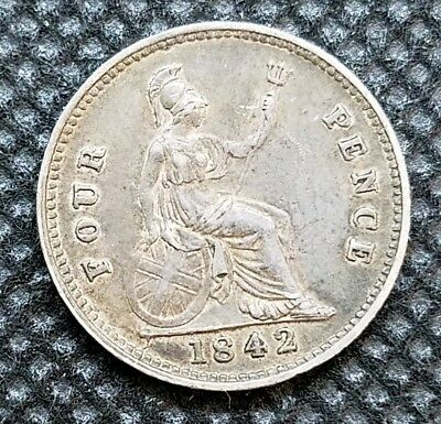 1842 Great Britain 4 Pence | FINE | Nice Early Silver Coin!