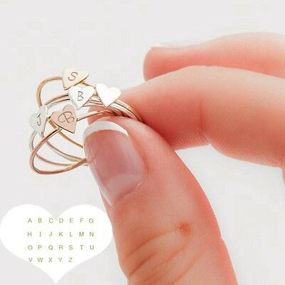 Jewelry Finger Rings Heart 26 Letters Ring Gold/Silver/Rose Gold Color