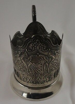 VINTAGE MHU RUSSIAN Silver Plate Tea Cup Holder