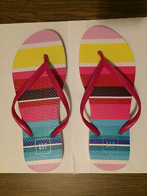 f29b0e5ea582  NEW  Women s GAP EVA Flip Flops -Warm Stripe Pattern- SIZE 7