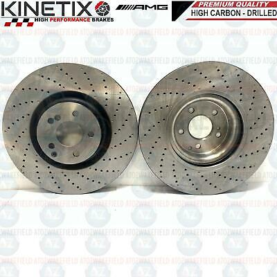 FOR MERCEDES C63 AMG W205 FRONT PREMIUM CROSS DRILLED BRAKE DISCS PAIR 360mm