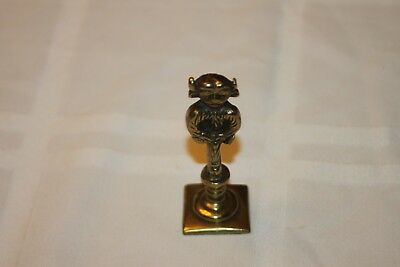 "Antique Brass Horned Devil Mythical Beast Wax Stamp 2 1/2"" tall"