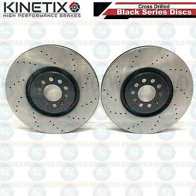FOR AUDI TT 3.2 VW GOLF MK4 R32 FRONT CROSS DRILLED BRAKE DISCS COATED 334mm