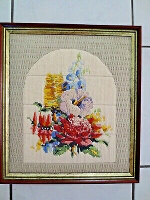 Craft Long Stitch Australian Wild Flowers Waratah Etc Completed And Framed