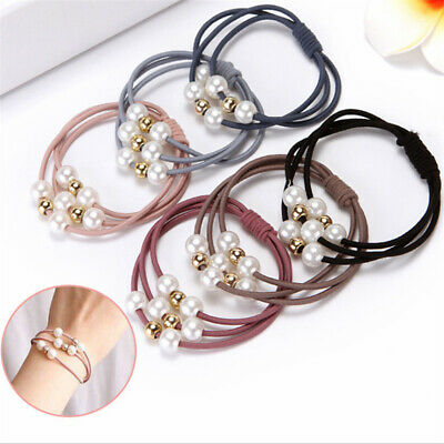 5Pcs Pearl Elastic Rubber Bands Ring Headwear Girl Hair Band Ponytail Holder
