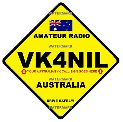 Amateur Radio - Your Call Sign – Attaches To Car Window – Australian - Free Post