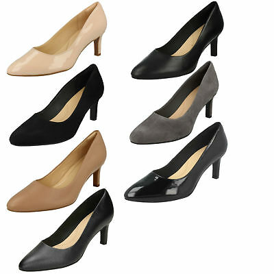 b674bffb64d75 Ladies Clarks Leather Pointed Toe Smart Slip On Court Shoes Sandals Calla  Rose
