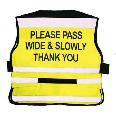 """Equisafety Air """" PLEASE PASS WIDE & SLOWLY"""" High Viz Waistcoat. Stay Safe !"""