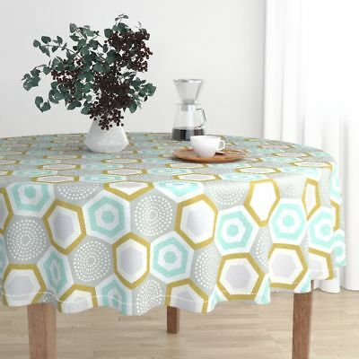 Round Tablecloth Ottomanbrim 50S Vintage Hexagon Mcm Geometric Mid Cotton Sateen