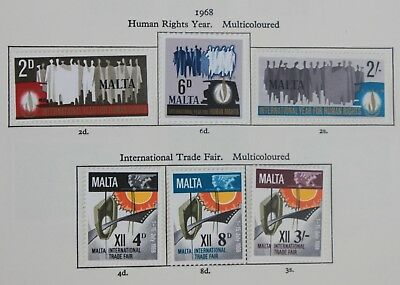 Malta QEII 1968 Human Rights to 1971 Europa sets SG399-451 Mounted Mint