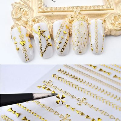 Wave Line Nail Art Stickers Metal Chains Water Transfer Geometric Patterns