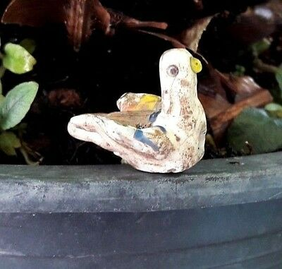 Antique Islamic Glass Rainbow White Dove Spreading Wings Bird Bead Pendant