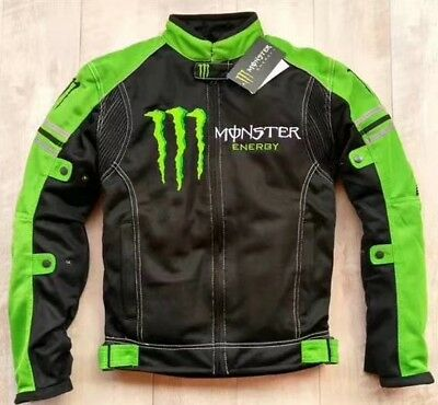 New Monster Energy mesh jacket summer motorcycle 5 protectors Green Black riding