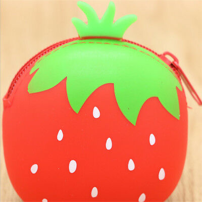 Girls Small Silicone Fruit Pineapple Apple Strawberry Shape Coin Purse Case CB