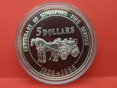 Singapore 5 Dollars Silver Proof Coin 1988 Singapore Fire Service COA (OC462)