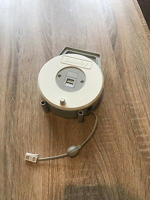 VINTAGE PULLWAY 15m TELEPHONE RETRACTABLE EXTENSION LEAD CABLE WIND UP REEL