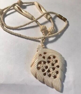 Antique Carved Bone Bovine Bead and Pendant Necklace circa 1900