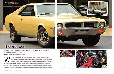 1969 Amc Javelin Sst 343/280 Hp ~ Great 4-Page Article / Ad