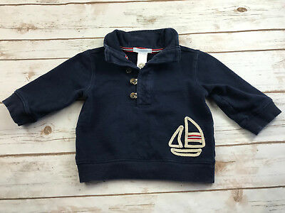Janie & Jack Boys 6-12 Months Out At Sea Sailboat Pullover Sweatshirt Top Navy