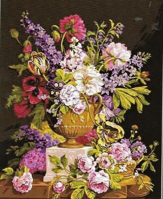NEW DESIGN ROMANTIC FLORAL URN NEEDLEPOINT TAPESTRY canvas to stitch! FREE POST