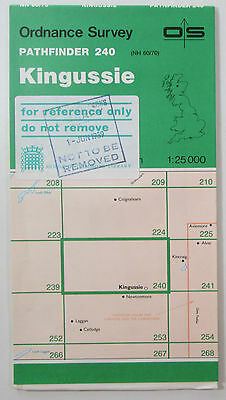 1989 old OS Ordnance Survey 1:25000 Pathfinder map 240 Kingussie NH 60/70