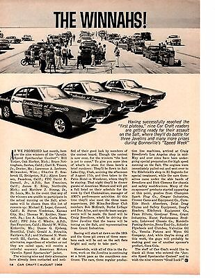 1968 Amc Javelin Speed Spectacular Contest At Bonneville  ~  Orig Article / Ad