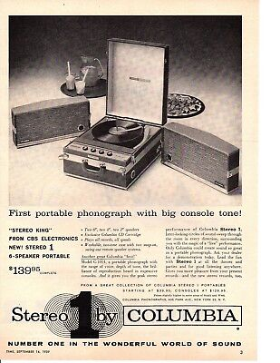 1959 Columbia Stereo Portable Phonograph / Record Player ~ Original Print Ad