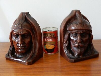 """Large Antique Hand Carved American """"Indian & Hunter """" Bookends, great Patina"""