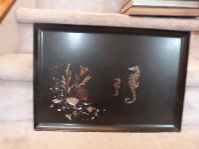 """VINTAGE Mid Century Couroc of Monterey Sea Horse Inlaid Pearl Tray 18""""x12.5"""""""