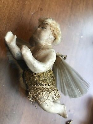 ANTIQUE GERMAN WAX OVER COMPOSITION ANGEL ORNAMENT With Spun Glass Wings