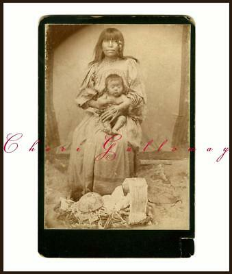 Rare 1800 Native American Indian Mother Child Baskets Papoose Cabinet Card Photo