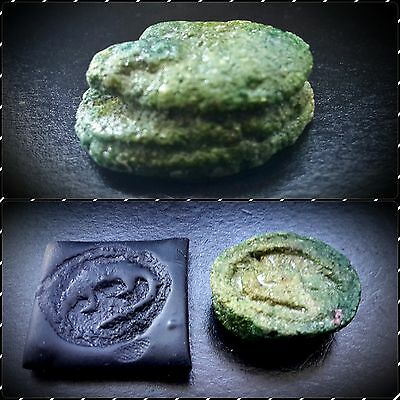Egyptian Glazed Green Sobek Scarab Seal Bead Featuring Crocodile 664-332 B.C.