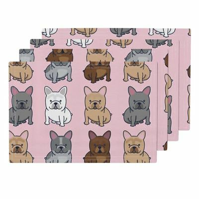 Cloth Placemats Frenchie French Bulldog Frenchy Dog Puppy Cute Set of 4