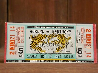 1974 Auburn vs Kentucky Vintage Football Ticket Stub Unused 10-2 season  EB67