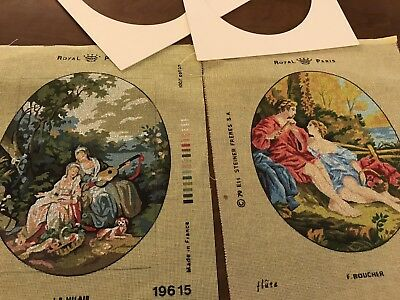 Vintage Lot 2 X Royal Paris Embroidery Tapestry Canvas & Card Mounts
