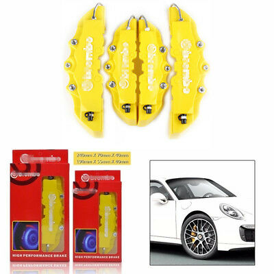 Yellow Universal 4Pcs 3D Brake Caliper Covers Car Style Disc Front & Rear Kit