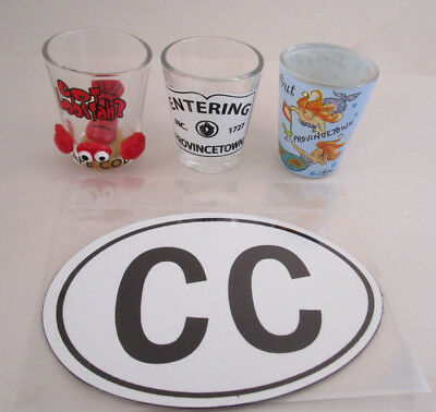 Cape Cod Provincetown Souvenir gift 3 Shot Glasses and round Euro magnet