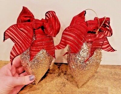 "Set of 2 Large Gold Glittered 8"" Vintage Christmas Ornaments With Red Bow"