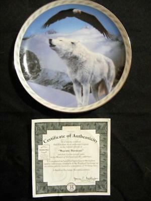 "2Nd Issue  ""masters Of  Land & Sky Collection Bradford Exchange Plate Wolf Coa"