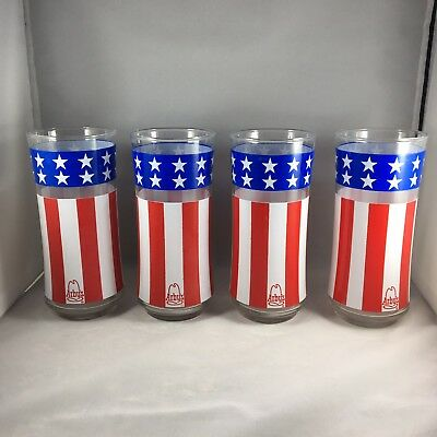 Lot of 4 ARBYs Patriotic American Flag Drinking Glasses 16 oz. EUC