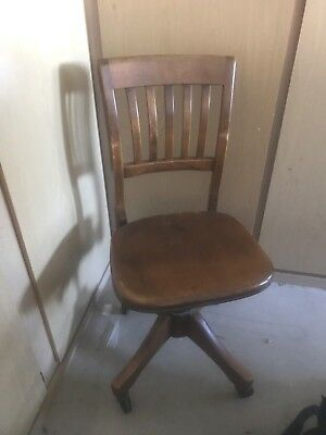 W.H. GUNLOCKE ANTIQUE OFFICE CHAIR WAYLAND NY 1920s VINTAGE SWIVEL TILT BACK