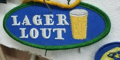 Lager Lout Patch New 90'S Vintage Oop Rare Collectable Drunk Boys Behaving Badly
