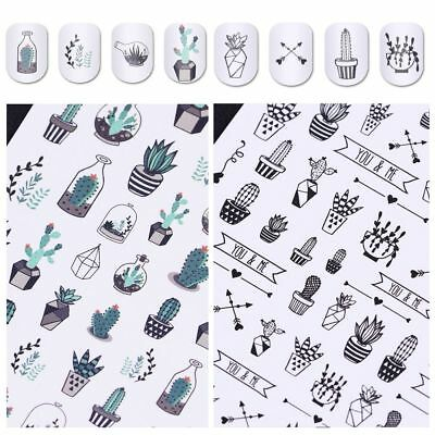Manicure Decal DIY Gradient Light Nail Art Stickers Water Transfer Cactus
