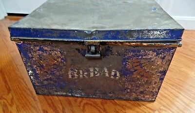 antique painted blue gold patterned tin metal bread box w latch