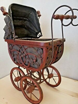 Vintage Antique Ornate Wicker Baby Doll Buggy Stroller Carriage With Bedding @@@