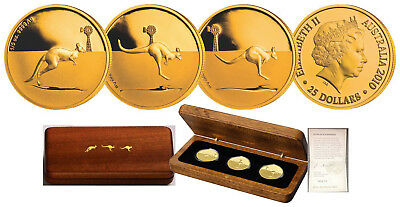 Royal Australian Mint 2010 Kangaroo in the Outback 3 Gold Coin Proof Set SCARCE